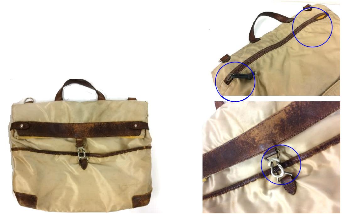修理の実例 背胴ファスナーの破れ・引手紛失・金具吊革の劣化 Before